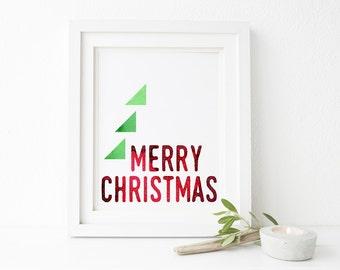 Merry Christmas Printable Wall Art 8x10, 5x7, 11x14, Christmas Decor, Holiday Printable Decor, Modern Christmas Decorations