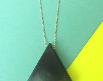 Smokey matte black minimalist triangle necklace, resin pendant, sterling silver chain