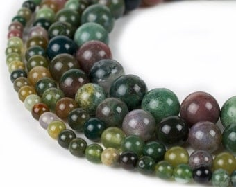 "Indian Agate Beads, 15.5"" Full strand, Natural Round Wholesale Gemstone 4mm 6mm 8mm 10mm"