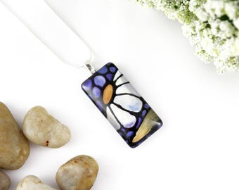 Daisy Necklace - Abstract White Daisy Necklace - Blue Glass Pendant - Stained Glass Floral Jewelry - Art Nouveau Charm - Daisy Charm
