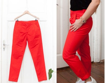 Vintage 80s High Waisted Pants Bright Red Pleated Mom Pants Womens W32 L31 Tapered Leg High Rise Trousers Medium Cotton High Waist Pants M