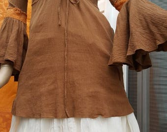 Indian cotton tunic,60s,70s rare hippie blouse,boho fashion,medieval blouse,gypsy shirt,festival blouse,rost-brown vintage top,(3)