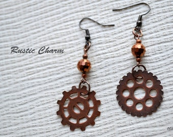 Steampunk Style Earrings with Crystals