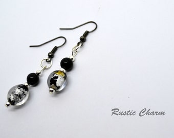 Unique Silver Foil Glass Bead and Natural Black Stone Dangle Earrings