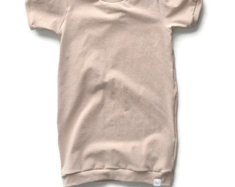 Beige T-shirt dress, Baby girl clothing, Baby girl dresses, Summer tshirt dress, Baby tshirt dress, Toddler spring dress