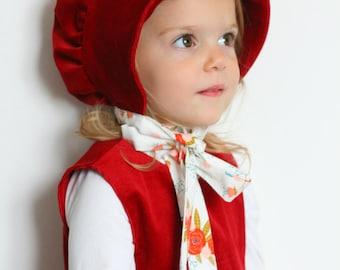Brimmed Bonnet, Red Baby Bonnet, Baby Girl Hat, Baby Hat, Toddler Hat, Toddler Bonnet, Litte Red Riding Hood