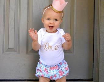 First Birthday**Year One Outfit w/ Bloomers & Pink and Gold Birthday CROWN**Baby Girl Gift **