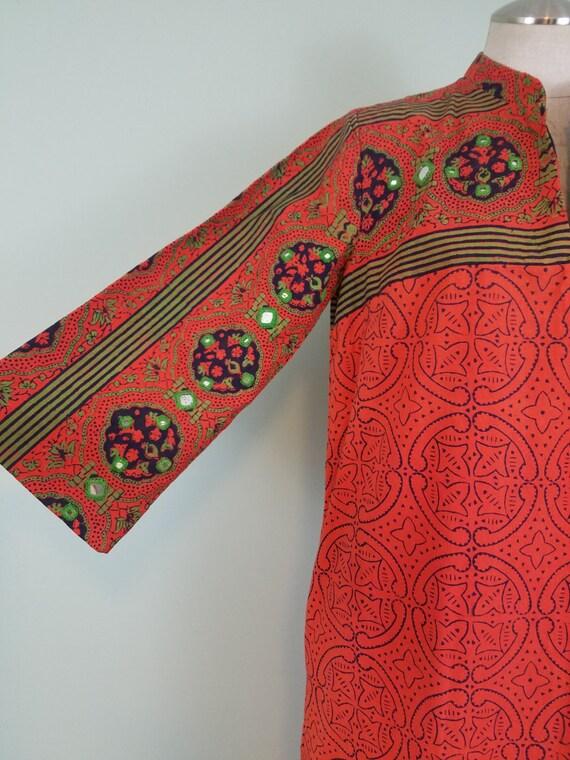 1970s Ramona Rull Caftan / Kaftan Maxi Dress with Pockets / Bright Orange, Blue & Green Block Printing / Mirrored Accents / Small, Medium