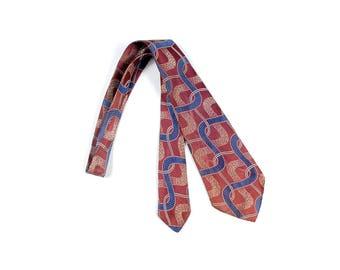 Vintage 30s Necktie - 30s Cravat - 30s Tie - 30s Brocade Tie - 30s Striped Tie - 30s Satin Tie - Art Deco Tie - Blue Red Gold - Art Nouveau