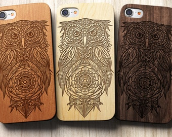 Aztec Owl Phone Case Mandala iPhone Case SE 5c 5s 5 6 /6s 7 Plus Case | iPhone 7 Case Samsung Galaxy S6 / S7 Real Wood Case Laser Engraved