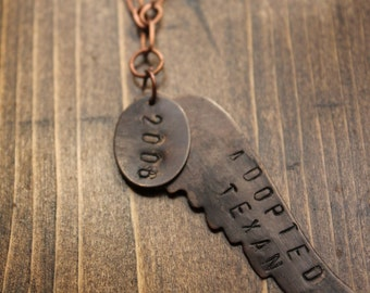 Necklace- Hand Stamped State Love