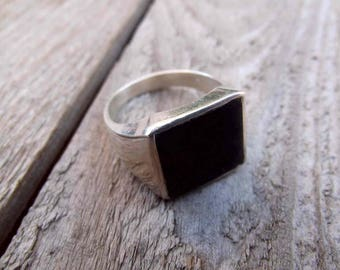 925 sterling silver ring, signet for men, sel ring, onyx signet ring,silver stone ring, signet men ring,men onyx ring, ring.