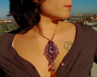 Macrame necklace, amethyst necklace, gemstone necklace, macrame jewelry.