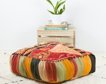20% OFF - PUF marroquí de 24'' x 24'' x8'' Vintage, Puffs de Kilim, cojín de suelo, PUF alfombra marroquí, PUF piso, almohadilla del piso, Plaza PUF - KP003