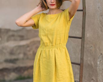 Soft linen dress. Linen dress with elastic waist. Soft linen dress with pockets.