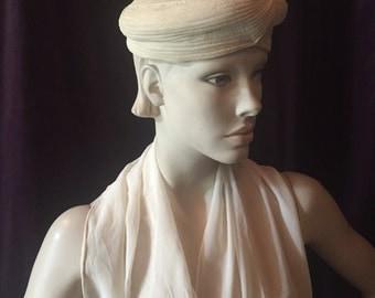 1930's Ivory Cream Crepe Turban Beret Hat