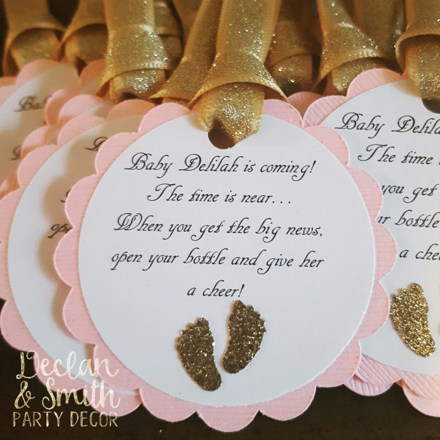 Pink And Gold Glitter Baby Shower Favor Tags Barefoot Wine