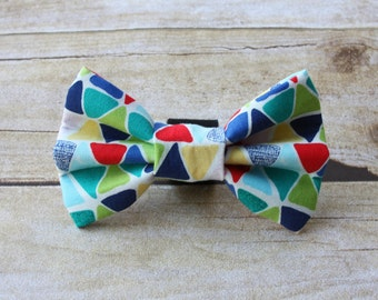 Colorful Triangle Geometric Dog Bow Tie