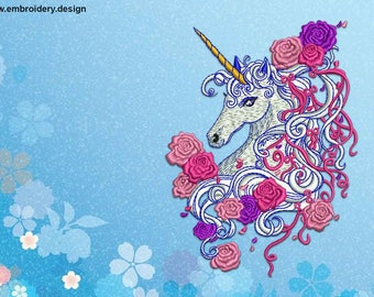 Unicorn with flowers embroidery design – 4 sizes - downloadable