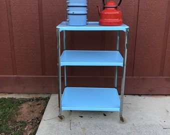 Vintage 50's/60's Blue (painted) 3 Tier Bar Utility Table Cart