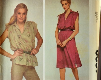 Uncut 1970s McCall's Vintage Sewing Pattern 6637, Size M; Misses' Dress or Top