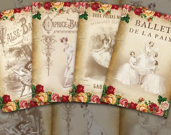 Victorian Ballerinas - Digital Collage Sheet Download.