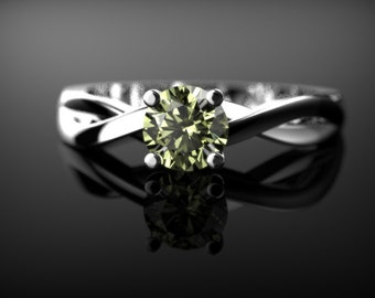 White Gold Peridot Engagement Ring White Gold Peridot Ring Peridot Engagement Ring Gemstone Ring Peridot Ring Peridot August Birthstone Ring