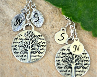 Personalized Tree Of Life Necklace | Handstamped Initial | Gift For Mother | Perfect Gift For Grandmother | Family Tree Necklace