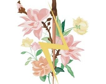 """Card"" flowered wand """