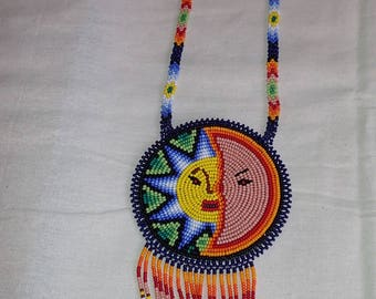 Huichol Sun and Moon Ceremonial Necklace