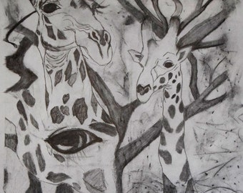 Drawing, Giraffe Collage in graphite