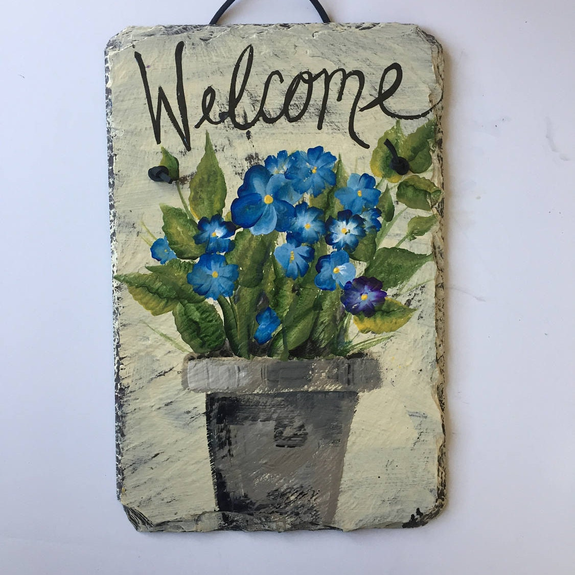 Welcome sign blue flowers welcome sign welcome slate for Slate blue front door