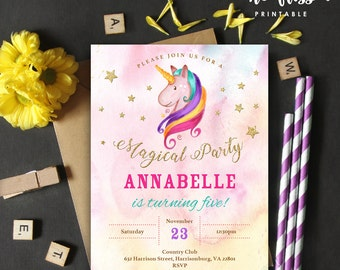 Unicorn Birthday Invitation | 5x7 | Editable PDF File | Instant Download | Personalize at home with Adobe Reader