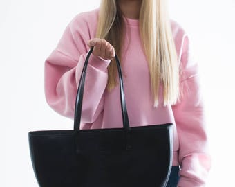 WAVE tote black leather