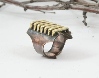 Brass ring Brass jewelry Modern ring Boho ring Bohemian ring Original ring Copper ring Unique ring Gifts for her Copper jewelry