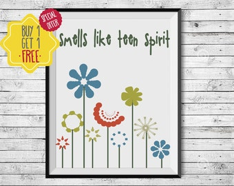 Gifts for teenagers, Flower girl gift, Girls room decor, Smell, colorful wall art, Kids prints, Spring decor, Positive inspiration, nirvana