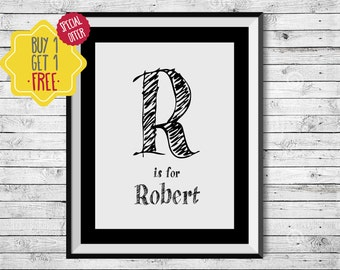 Initial print,Monogram art,Initial wall art,Kids prints,Kids room Decor,Gift  for kids,Black and white,Printable quotes,nursery wall art name