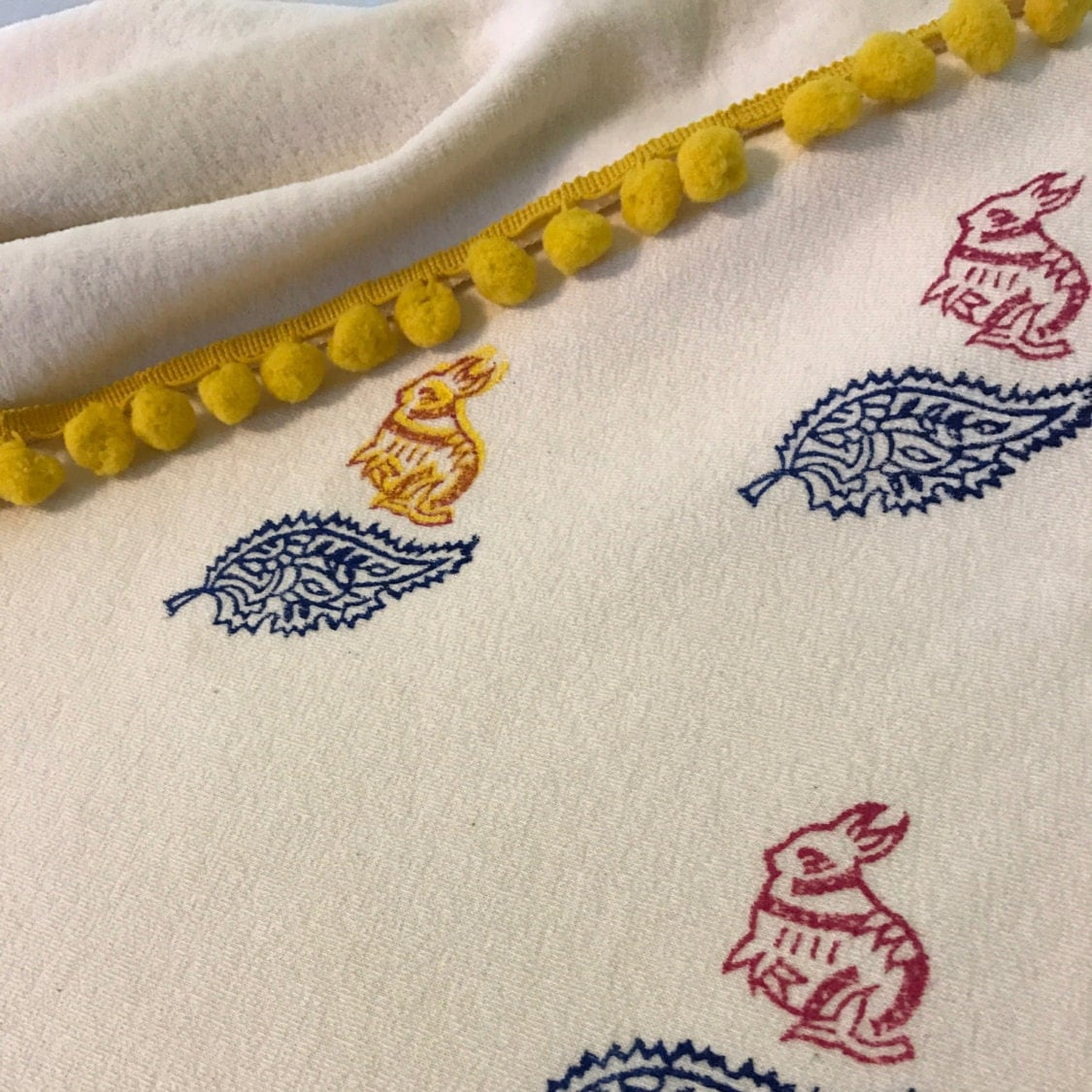 Baby Blanket / Organic Cotton Velour / Sherpa / Bunny Rabbits / Indian Print / Toddler / Girl / Warm / Gift / Swaddle / Nursery Décor / Crib