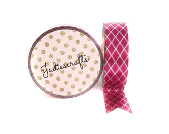 Bright Pink & Silver Foil Rhombus Washi Tape