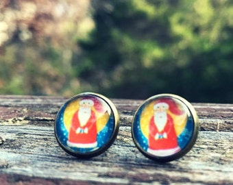 Vintage Santa earrings -  12mm glass nickel-free earrings