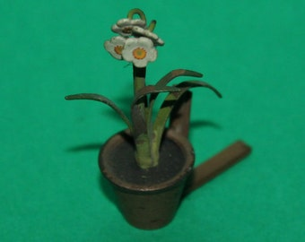 Vintage Dolls House Cold Painted Austrian Bronze Miniature Flowering Daffodils In A Flower Pot Austria