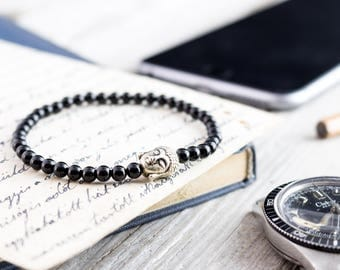 4mm - Black onyx beaded smiling Buddha stretchy bracelet, custom made yoga bracelet, beaded mens bracelet, womens bracelet