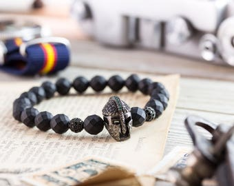 8mm - Matte black faceted onyx beaded stretchy bracelet with black micro pave Spartan Helmet & balls, made to order mens bracelet