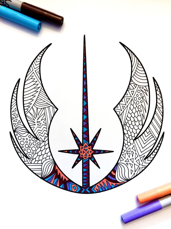 jedi order star wars symbol pdf zentangle coloring page
