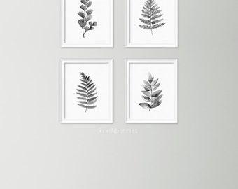 Leaf art set - Watercolor leaves wall art - Black and white prints - Minimalist decor - Minimalist gallery wall - Fern leaves art