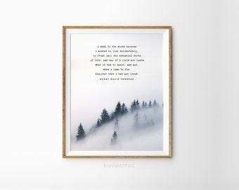 Henry David Thoreau quote - Henry David Thoreau print - Printable men gift - Climber gift - Hiker gift - Henry David Thoreau poem - Woods