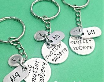 Best friends keychain - set of three, bff charm,3 bff keychain, set of 3 best friend, promise, bff promise keychain,couples keychain,gift