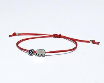 Evil eye bracelet-Elephant bracelet-Goodluck bracelet-Lucky elephant bracelet-Evil eye elephant-Friendship bracelet-String bracelet