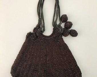 1910s/1920s Brown Glass Beaded Crochet Reticule Purse | 10s/20s Art Deco Knit Flapper Clutch Wristlet | Vintage Antique Drawstring Pouch