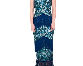 Teal Sequin and Fringe Gown